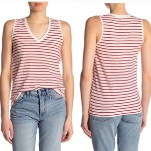 Madewell Theresa V-Neck Red Stripe Tank Top Small